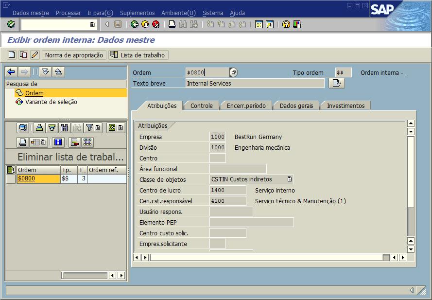 SAP CO - Ordem interna