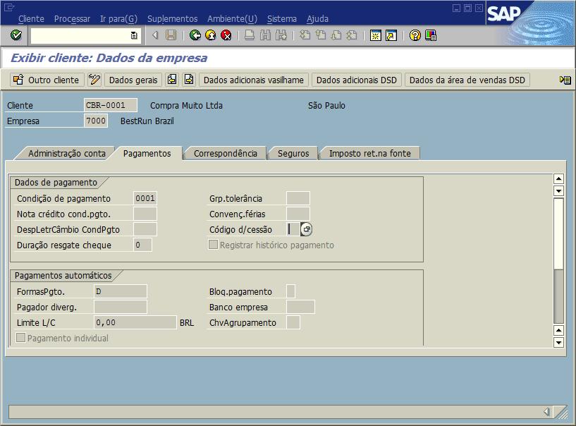 SAP FI - Cadastro de clientes