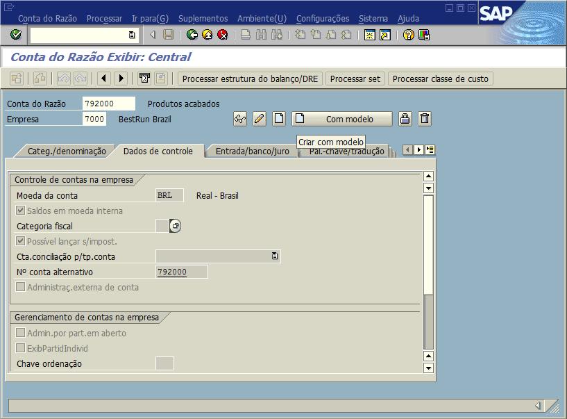SAP FI - Cadastro de contas do razão