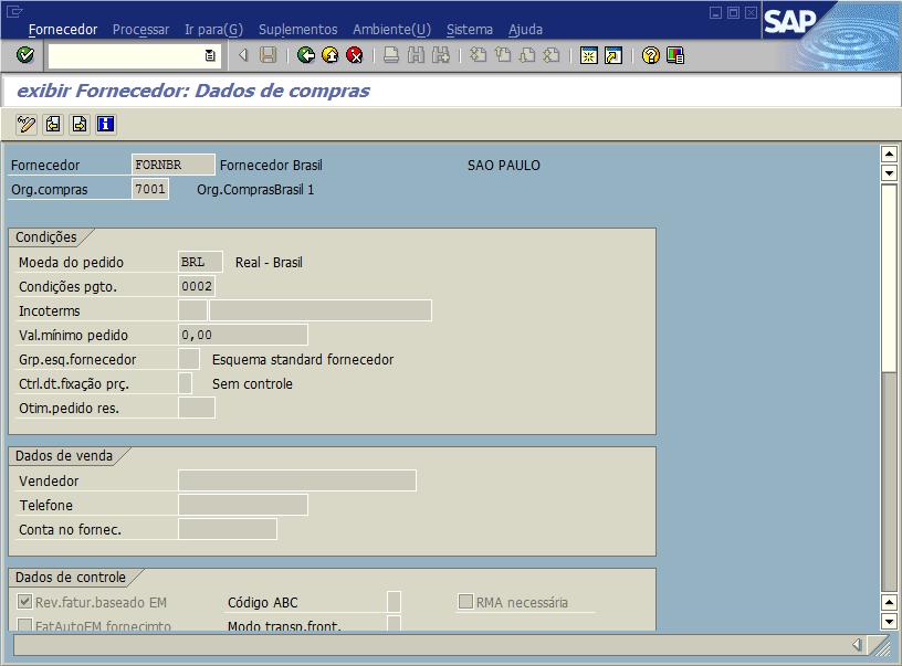 SAP MM - Cadastro de fornecedor