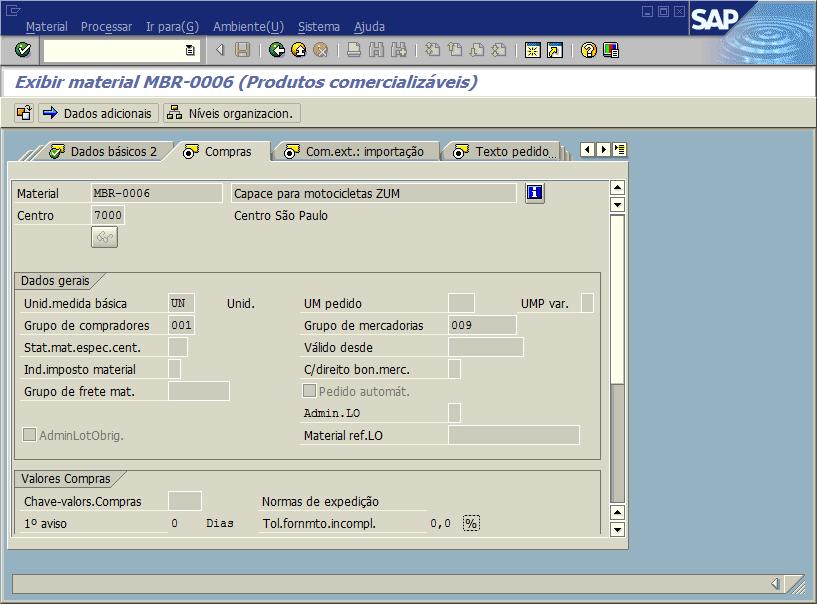 SAP MM - Cadastro de materiais