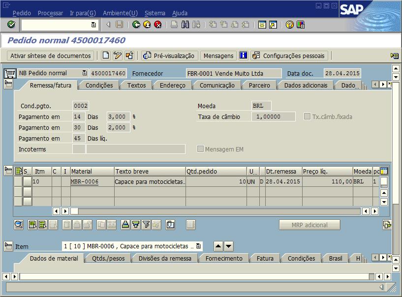SAP MM - Pedido de compras