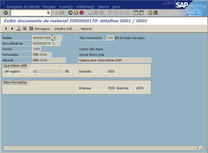 SAP MM - Recebimento de mercadorias