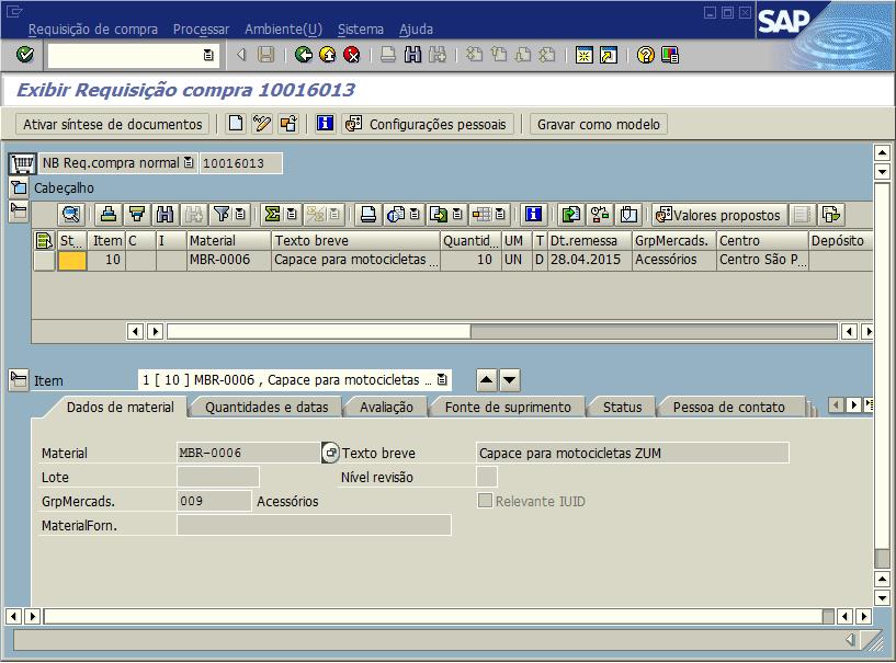 SAP MM - Requisição de compras