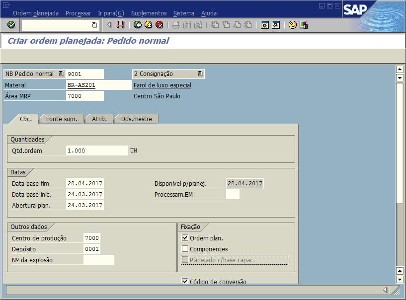 SAP PP - Criar ordem planejada