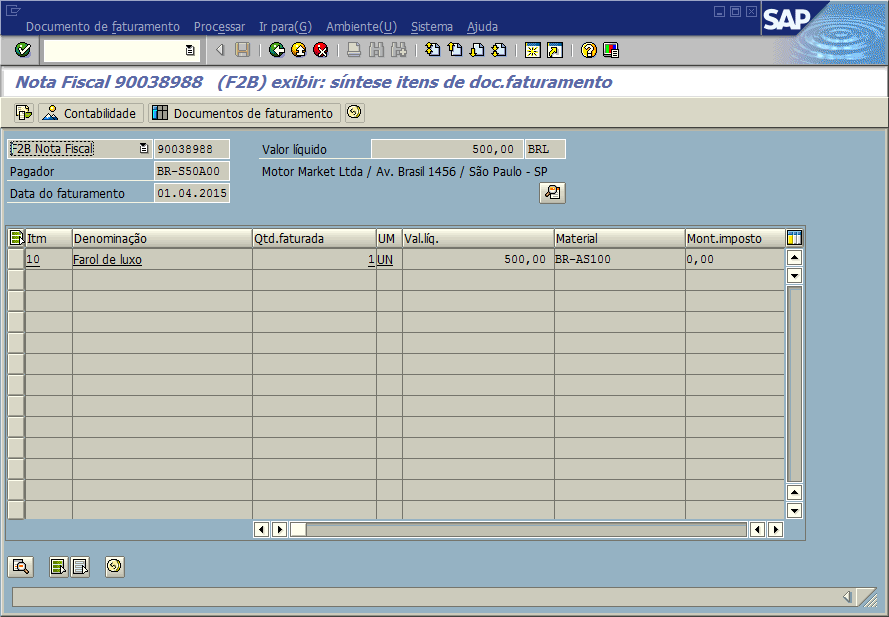 SAP SD - Fatura