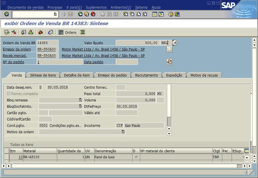 SAP SD - Ordem de venda