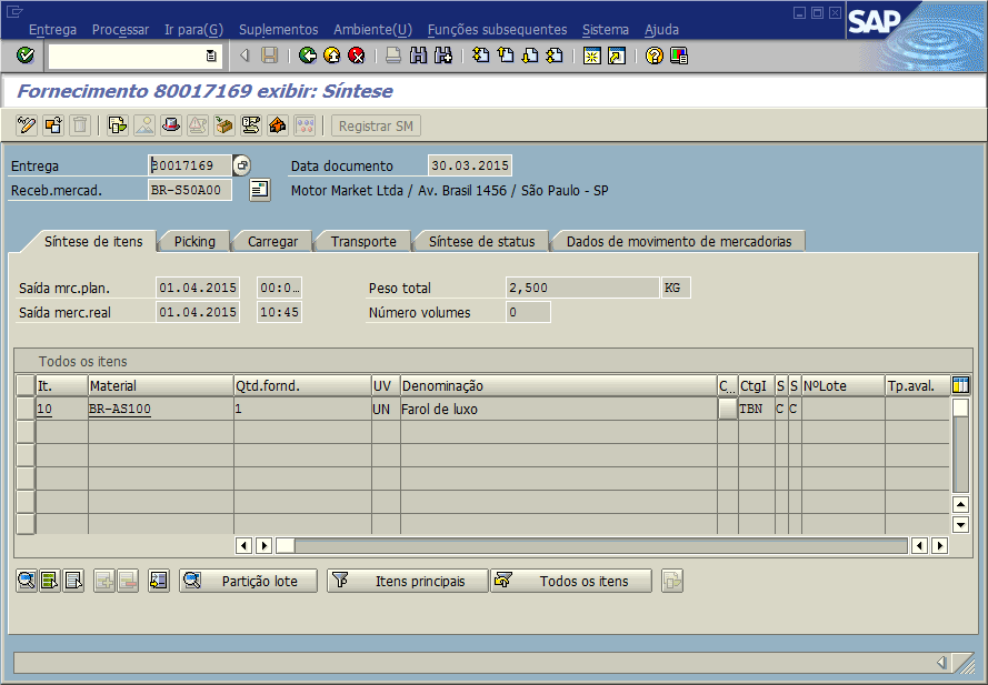 SAP SD - Remessa