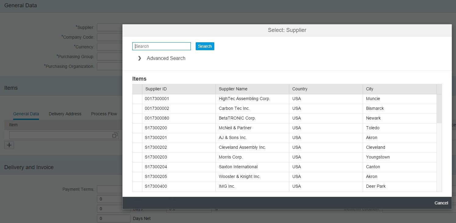 SAP S/4HANA - Exemplo de uso de match-code