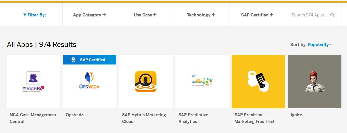 SAP HANA - Loja de aplicativos