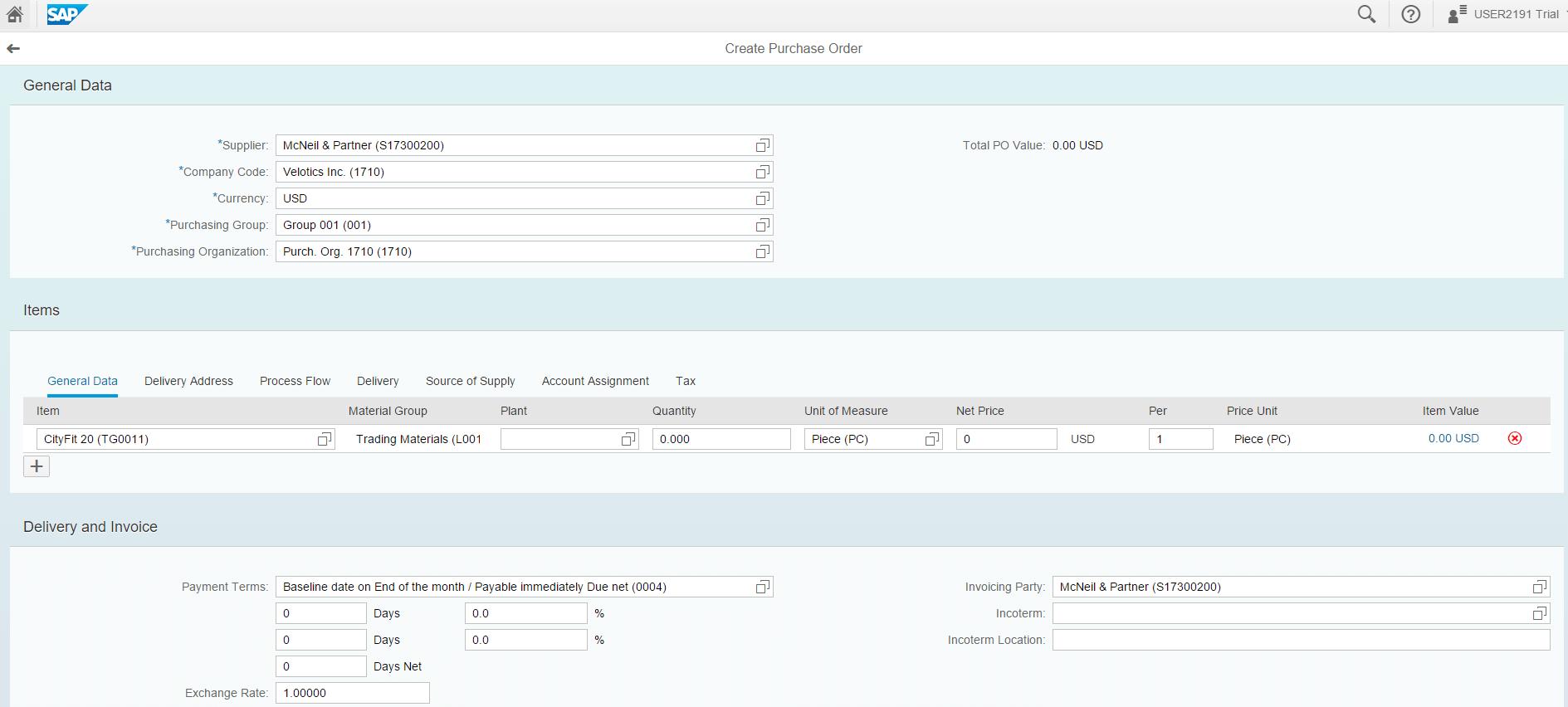 SAP S4HANA - Criar pedido de compra (ME21N)
