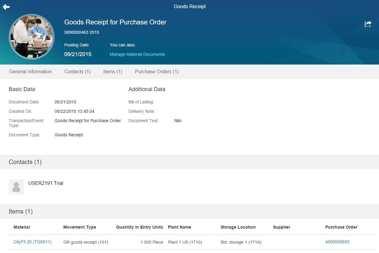 SAP S4HANA - Documento de material (MIGO)