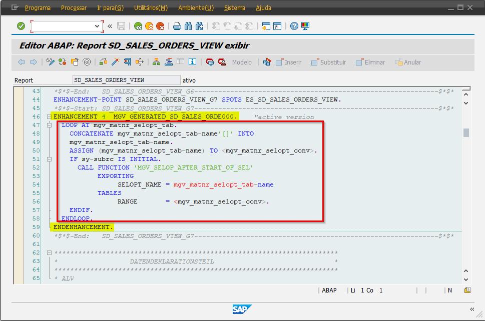 SAP ABAP - ENHANCEMENT